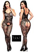 Baci Lingerie [ UK 8 - 14 ] Black Jacquard Lace Open Style Bodystocking (E29037)